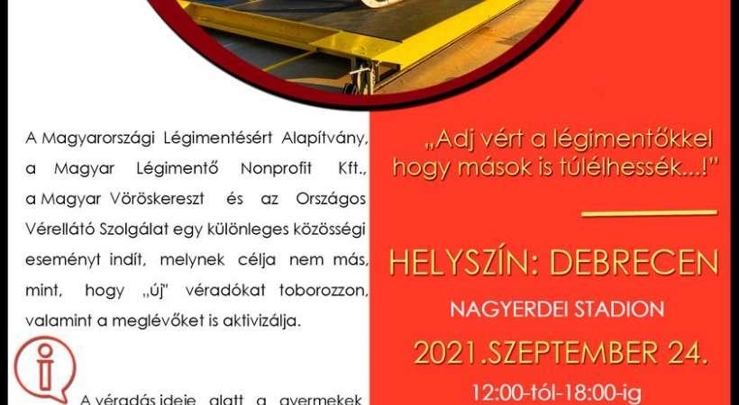 Véradás a légimentők javára Debrecenben